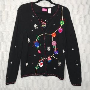 Vintage Black Ornaments Christmas Sweater Cardigan